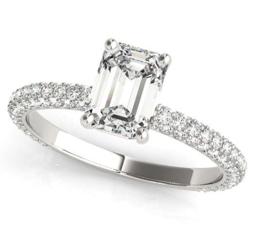 Emerald Cut with Pave Set Shoulders