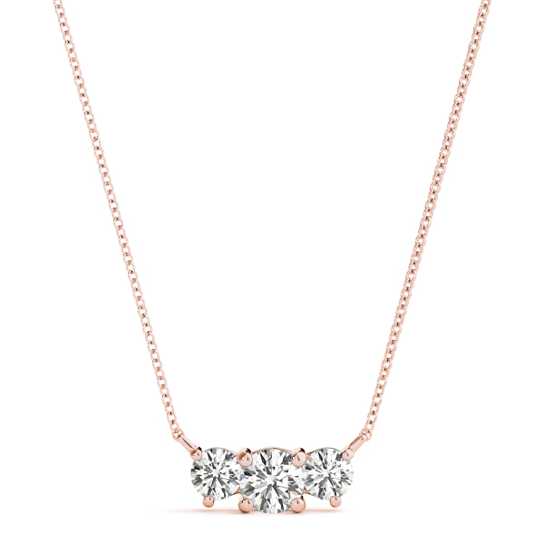Rose Gold Three Stone Diamond Pendant