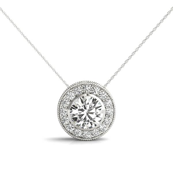 White Gold Millgrain Halo Diamond Station Pendant