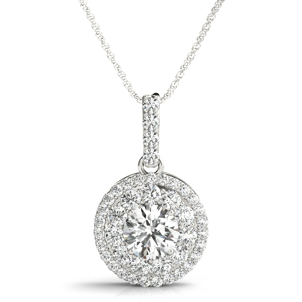 White Gold Double Halo Round Drop Diamond Pendant