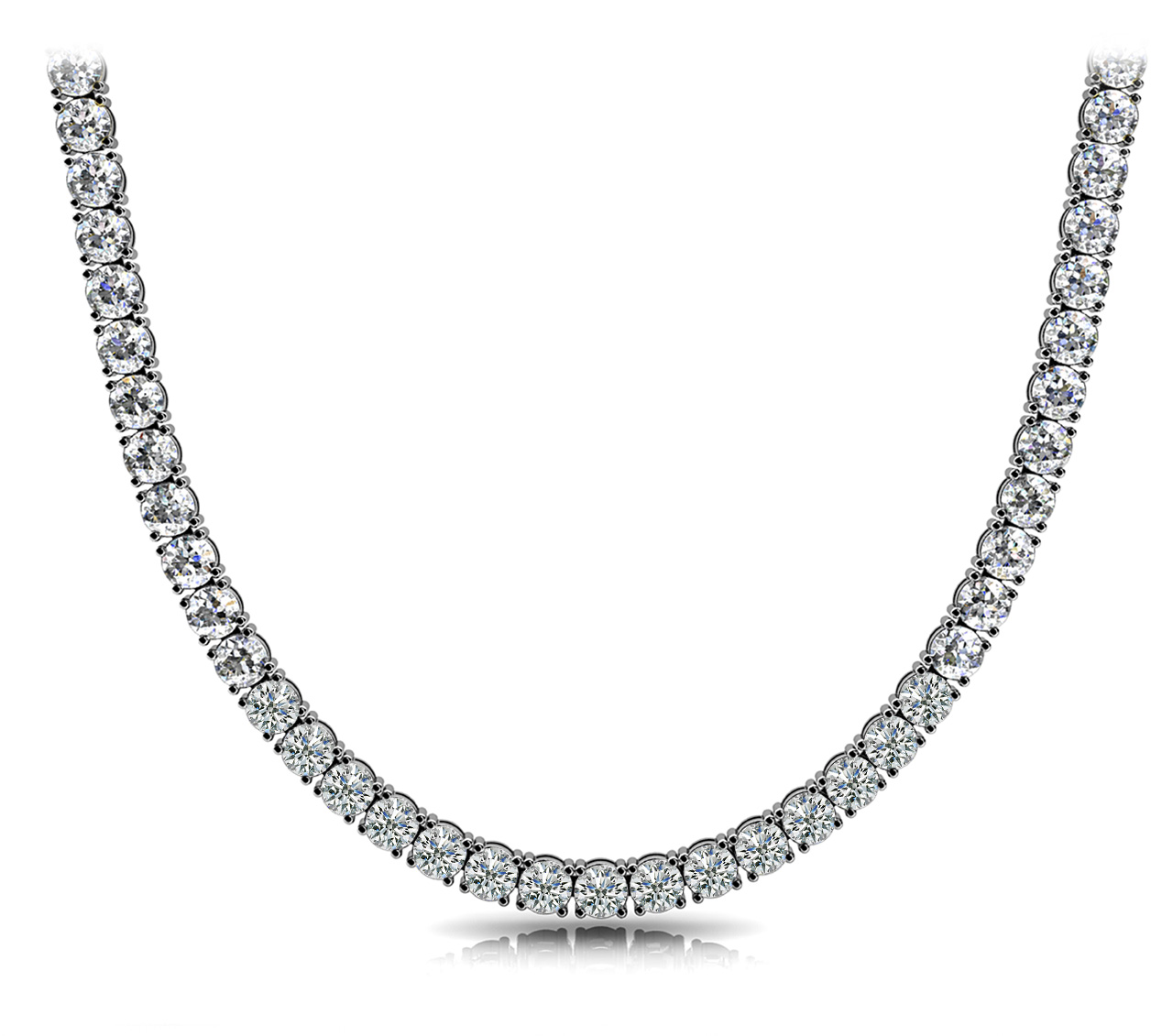 White Gold Diamond Shared Prong Eternity Necklace