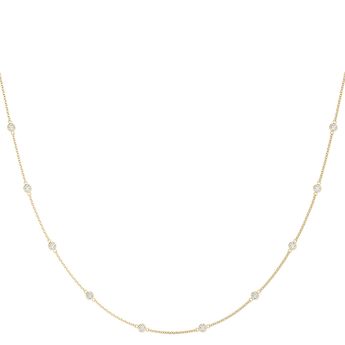 Yellow Gold Bezel Set Diamond Station Necklace