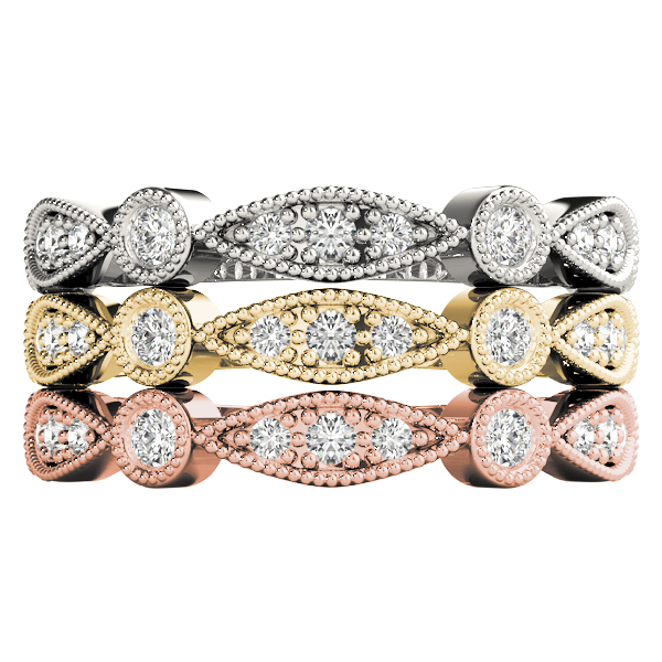 Marquise And Round Beaded Stackable Bands