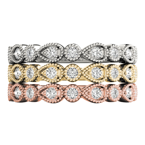 Pear And Round Beaded Stackable Bands