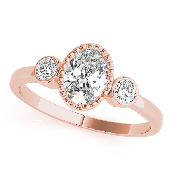 Rose Beaded Oval With Bezel Round Three Stone Engagement Ring