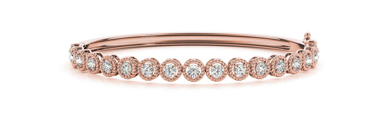 Rose Gold Diamond Set with Illusion Halo Hinged Bangle