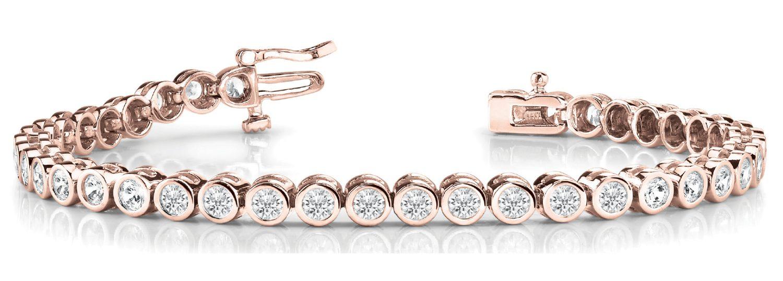 Rose Gold Bezel Set Diamond Tennis Bracelet