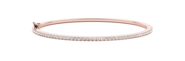 Rose Gold Pavé Hinged Bangle Bracelet