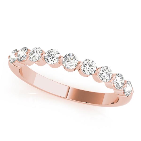 Rose Gold Single Claw Shared Diamond Set Band