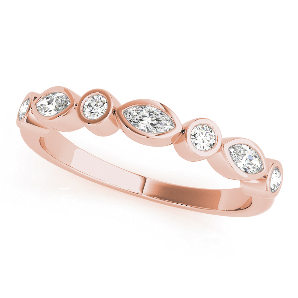 Rose Gold Stacking Alternating Marquise and Round Diamond Set Band