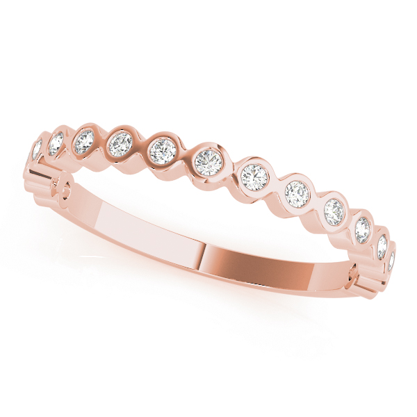 Rose Round Bezel Diamond Anniversary Band