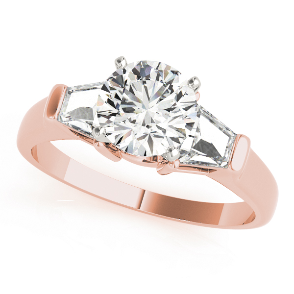 Rose Round Engagement Ring With Trap Side Stones