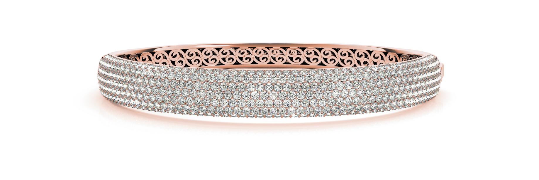 Rose Gold Micro Pavé Wide Lattice Backed Diamond Set Bangle