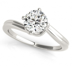 Round Brilliant Cut Solitaire Bypass Engagement Ring