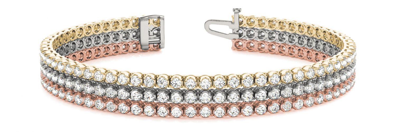Tri-Gold Tri-Strand Half Bezel Set Diamond Tennis Bracelet