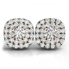 White and Rose Gold Round Brilliant Squared Double Halo Diamond Stud Earrings