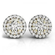 White and Yellow Gold Round Brilliant Double Halo Diamond Stud Earrings