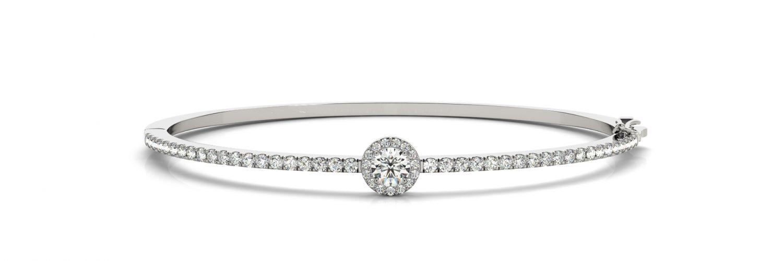 White Gold Diamond Halo Claw Set Hinged Bangle Bracelet