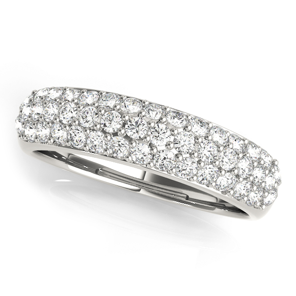 White Gold Ornate Twin Row Band