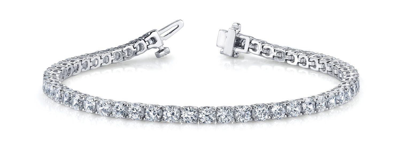 White Gold 4-Claw Diamond Set Tennis Bracelet