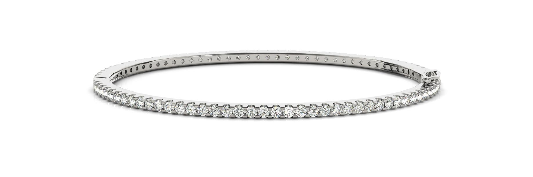 White Gold Shared Prong Eternity Hinged Bangle Bracelet