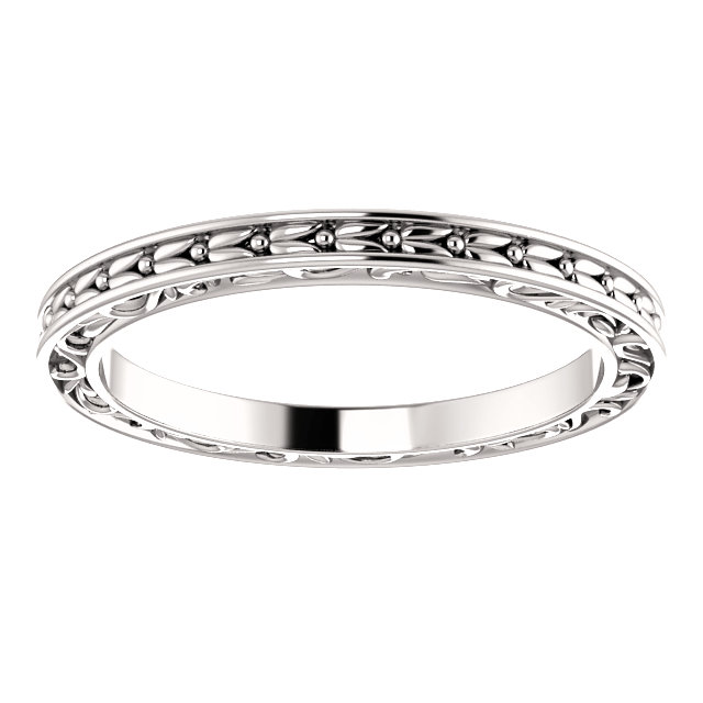 White Gold Filigree Band