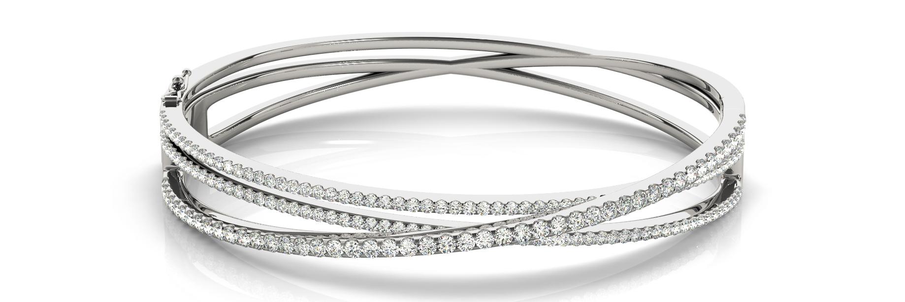 White Gold Tri-Strand Open Diamond Hinged Bangle Bracelet