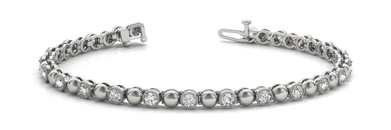 White Gold Alternating Bead Style Bezel Set Diamond Tennis Bracelet
