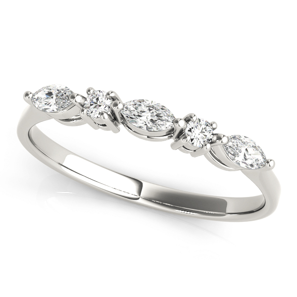 White Gold Alternating Marquise and Round Brilliant Diamond Band