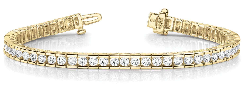 Yellow Gold Linked Channel Set Diamond Tennis Bracelet