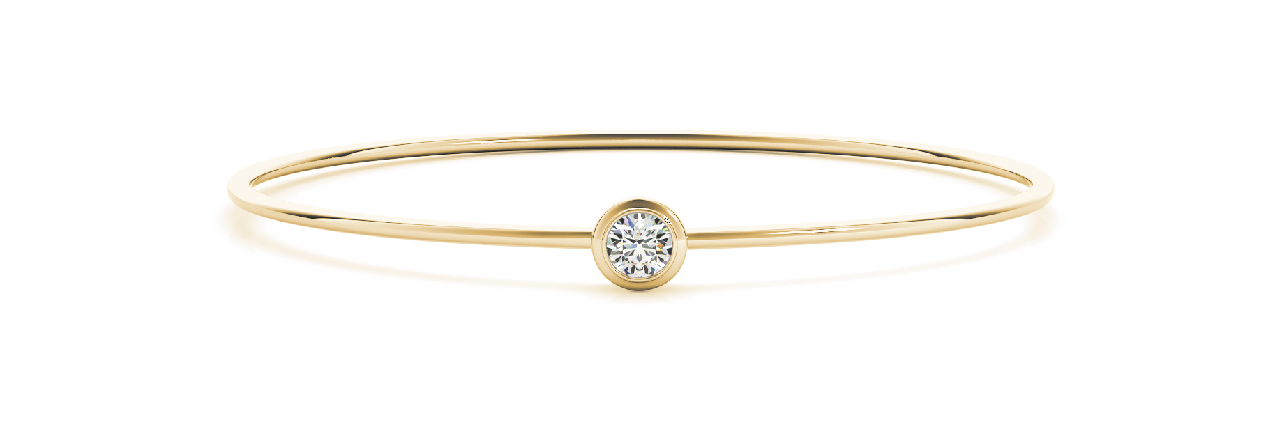 Yellow Gold Single Diamond Bangle Bracelet