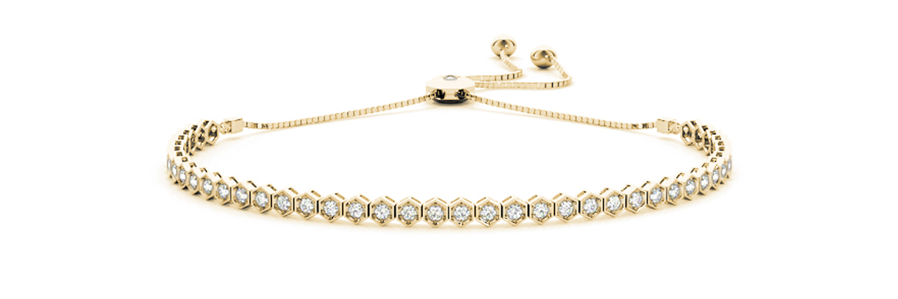 Yellow Gold Honey Comb Style Invisible Set Diamond Slider Bracelet