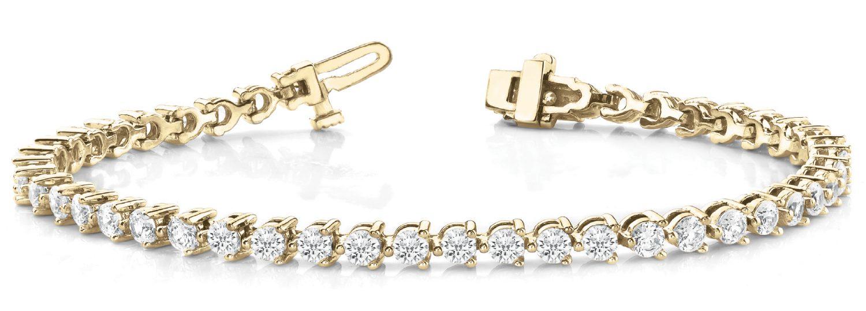 Yellow Gold Martini Set Diamond Tennis Bracelet