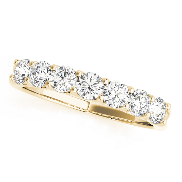 Yellow Gold Shared Prong Seven Stone Diamond Set Band
