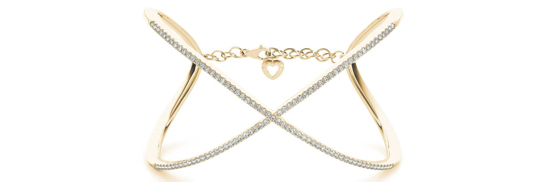 Yellow Gold Cross Wrist Open Cuff Style Diamond Bracelet