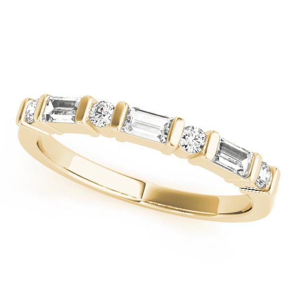 Yellow Gold Alternating Emerald Cut and Round Diamond Bar Set Fancy Band