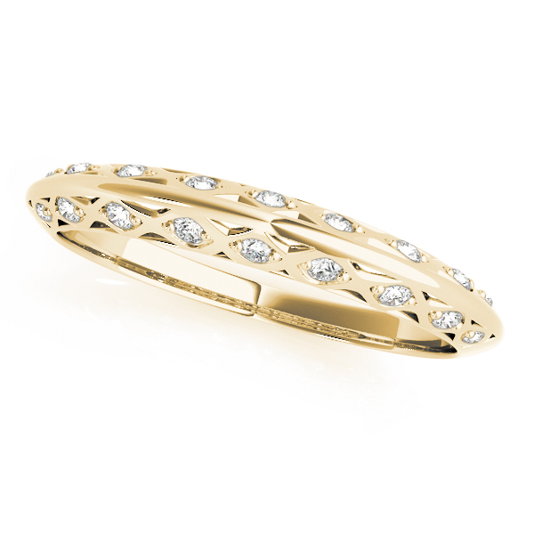 Yellow Gold Filigree Pavé Diamond Set Band