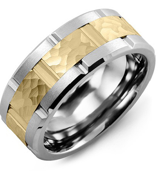 White Gold 8mm with Hammered Yellow Gold Inlay Men's Wedding Band