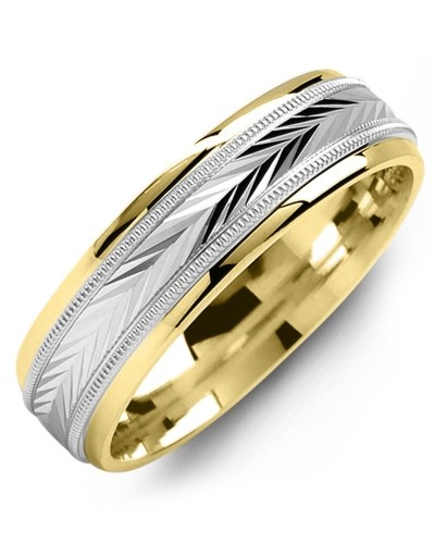 Yellow Gold 6mm White Gold Inlayed Carved Men's Wedding Band