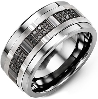 White Gold 8mm Black Diamond Center Men's Wedding Band