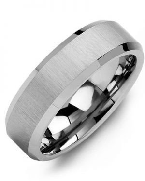 White Gold 6mm Satin Finished Comfort Fit Men's Wedding Band