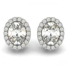 White Gold Oval Halo Diamond Stud Earrings