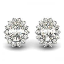 White Gold Oval Floral Halo Diamond Stud Earrings