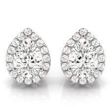 White Gold Pear Shaped Halo Diamond Stud Earrings