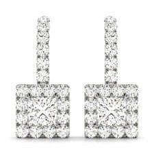 White Gold Princess Cut Squared Halo Drop Diamond Set Earrings