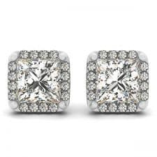 White Gold Princess Cut Squared Halo Diamond Stud Earrings