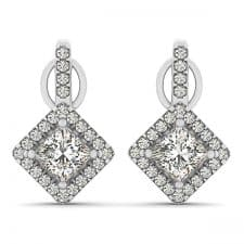 White Gold Sideways Cushion Squared Halo Drop Diamond Set Earrings