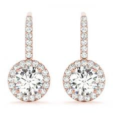 Rose Gold Round Brilliant Halo Drop Diamond Set Earrings