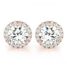 Rose Gold Round Brilliant Halo Diamond Stud Earrings