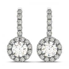 White Gold Round Brilliant Halo Drop Diamond Set Earrings